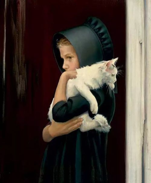 Amish girl with cat