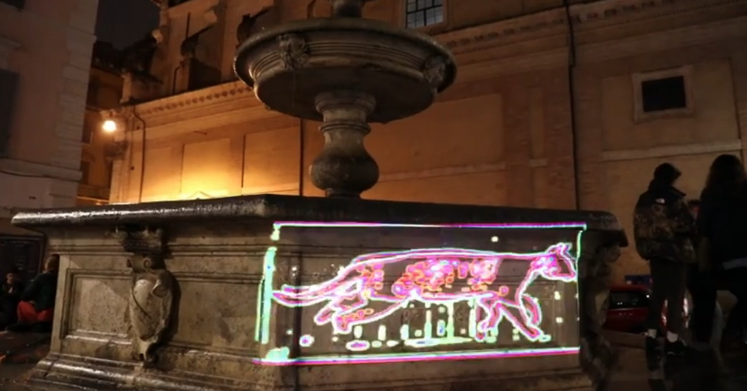 Cat art light projections in Rome