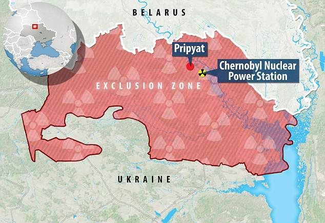 Map of Chernobyl exclusion zone - thanks to the Daily Mail online.