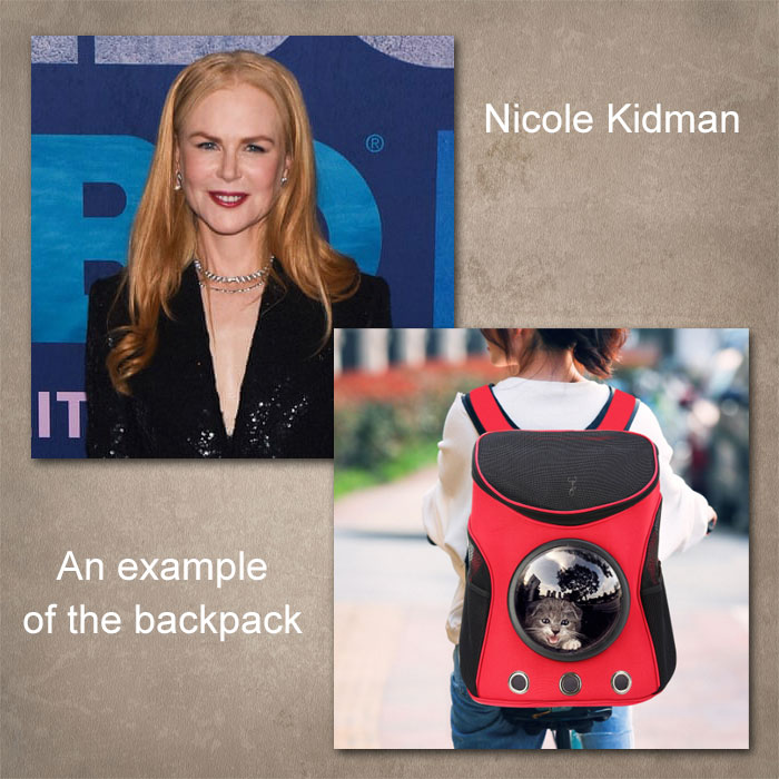 Nicole Kidman and an example of the backpack referred to. Pictures in the public domain.