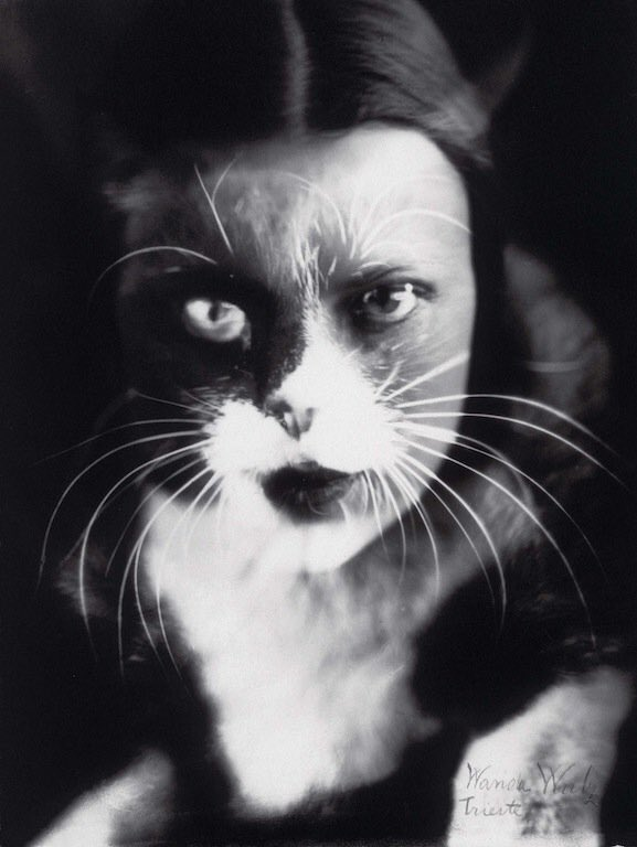 Photograph by Wanda Wulz 1932. A merged image from 2 negatives in black and white.