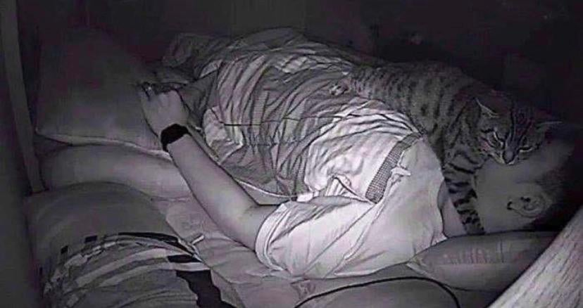 A man said he couldn't breathe when sleeping so he installed a camera to see why