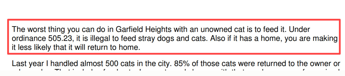 Garfield Heights law on feeding stray cats and dogs