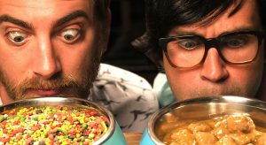 "Taste testing cat and dog food. Note: this is a joke and these guys are not Mars employees. ""Rhett & Link Eat a Variety of Pet Foods"""