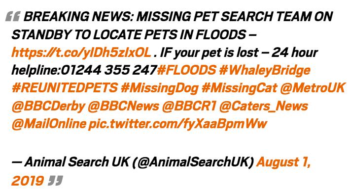Animal Search UK warning notice