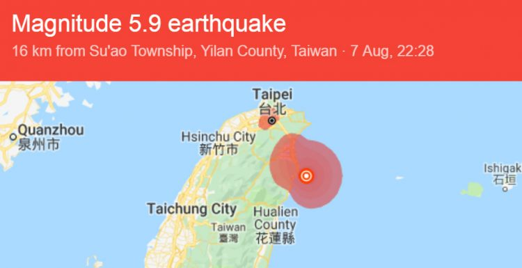 Taiwan earthquake location