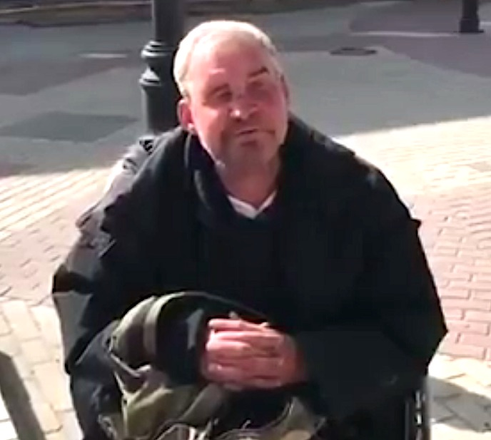 Homeless Russian man