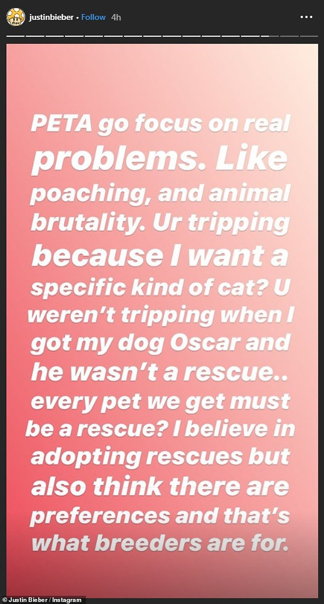 Bieber hits back at PETA