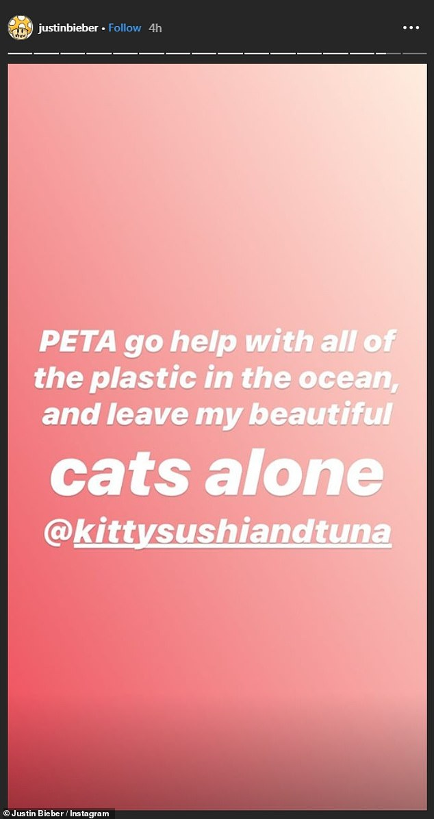 Bieber hits back at PETA. Picture: Instagram.