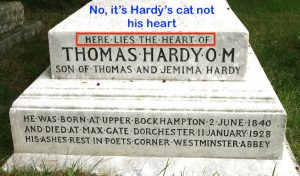 Hardy's heart in a grave