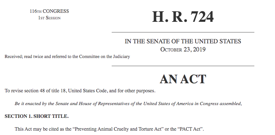 Preventing Animal Cruelty and Torture Act — the PACT Act