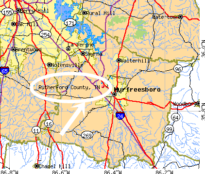 Rutherford, TN map