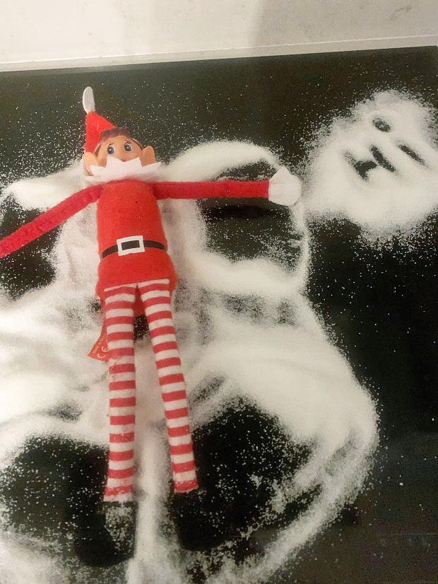 Elf on the shelf snow scene as it was