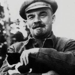 Lenin with black-and-white cat