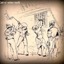 A sailor is stipped to the waist and whipped with a cat-o'-nine-tails