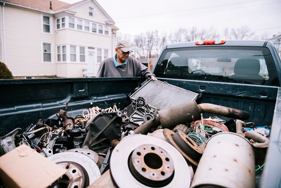 man sells scrap metal