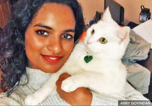 Abby Govindan and her cat Anjali