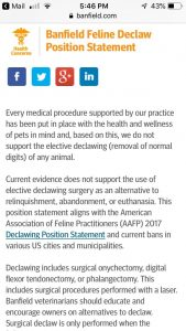 Banfield Hospital stops elective declawing