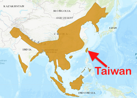 Distribution of the leopard cat showing Taiwan