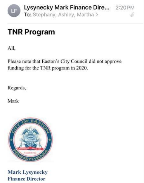 Note from Finance Director over TNR funding in Easton