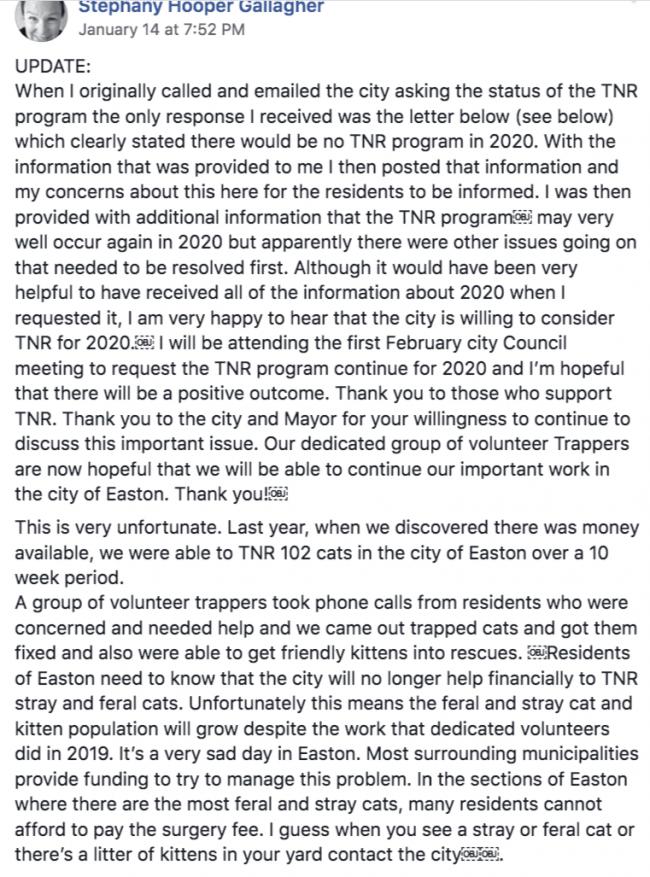 Facebook post by TNR volunteer