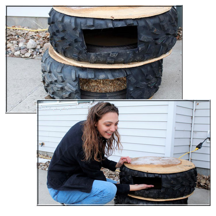 Tires as cat shelters