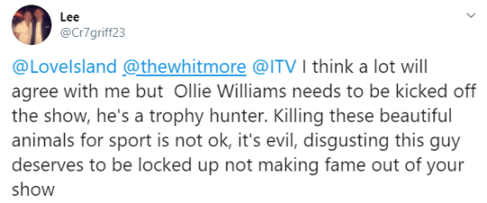 A typical statement about Williams on social media