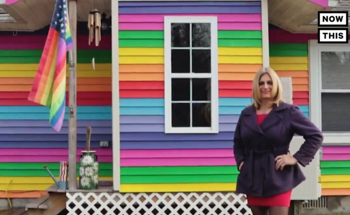 Angelina Bouros in front of her home