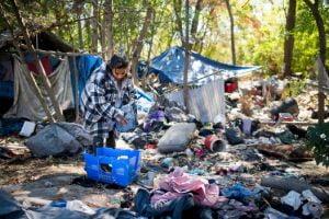 Homeless people encampement LA