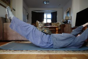 Pilates and my cat at home