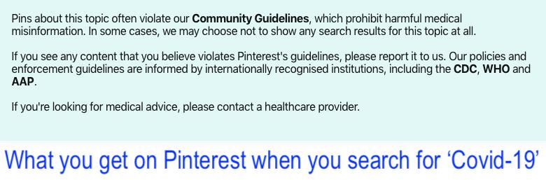 Pinterest warning regarding covid-19