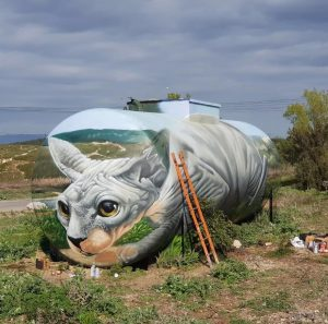 Street artist paints mind-bending illusion of Sphynx cat on old gas tank