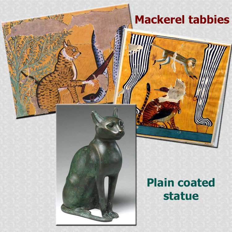 Tabby cats of ancient Egypt and plain-coated statues