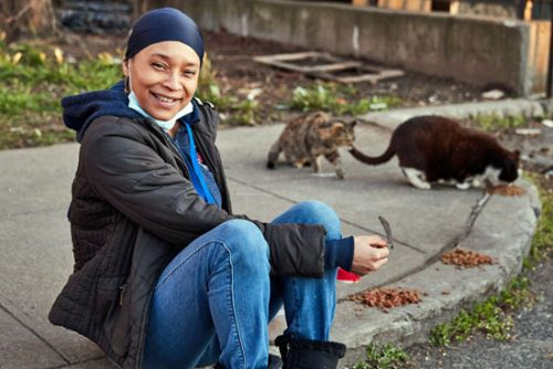 Latonya Walker, an heroic individual who cares for feral cat colonies in NYC during the coronavirus pandemic