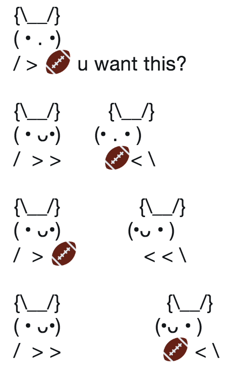 More ascii cats this time with an American football emoji