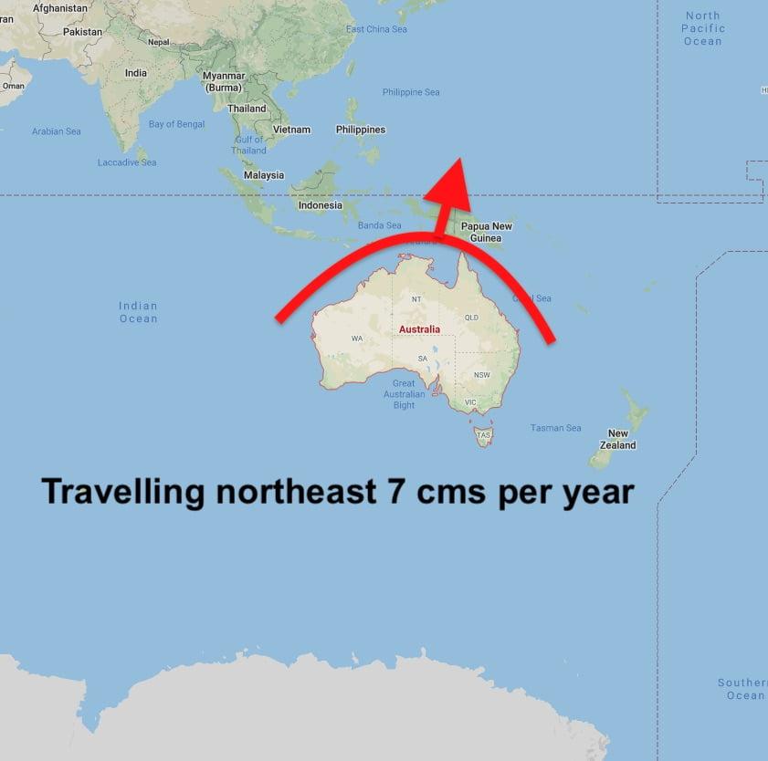 Australia travelling northeast