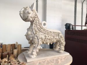 Grayson Perry cat sculpture