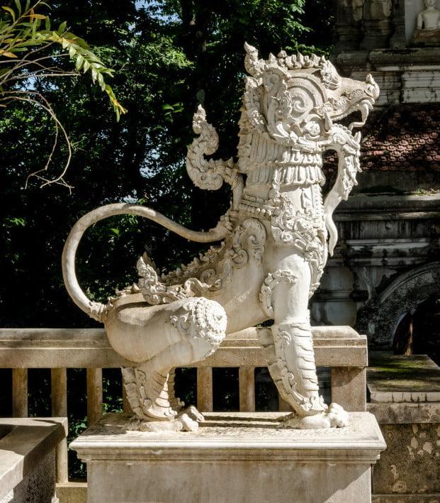 Thai temple lion sculpture