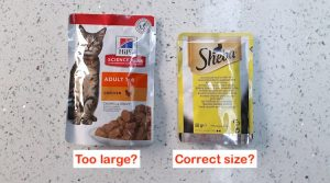 Hills wet cat food sachets are too large?