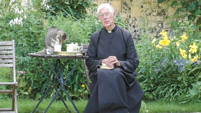 Dean of Canterbury with his cat Tiger