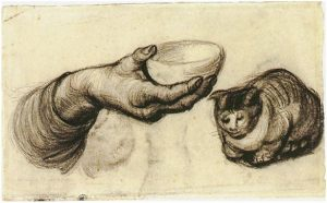 Vincent van Gogh's sketch of hand with bowl and cat