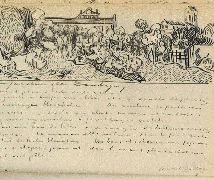 Letter from Vincent van Gogh headed with sketch including a cat