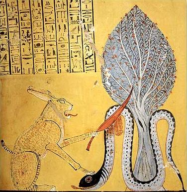 Ra in the form of a cat fighting Apopis