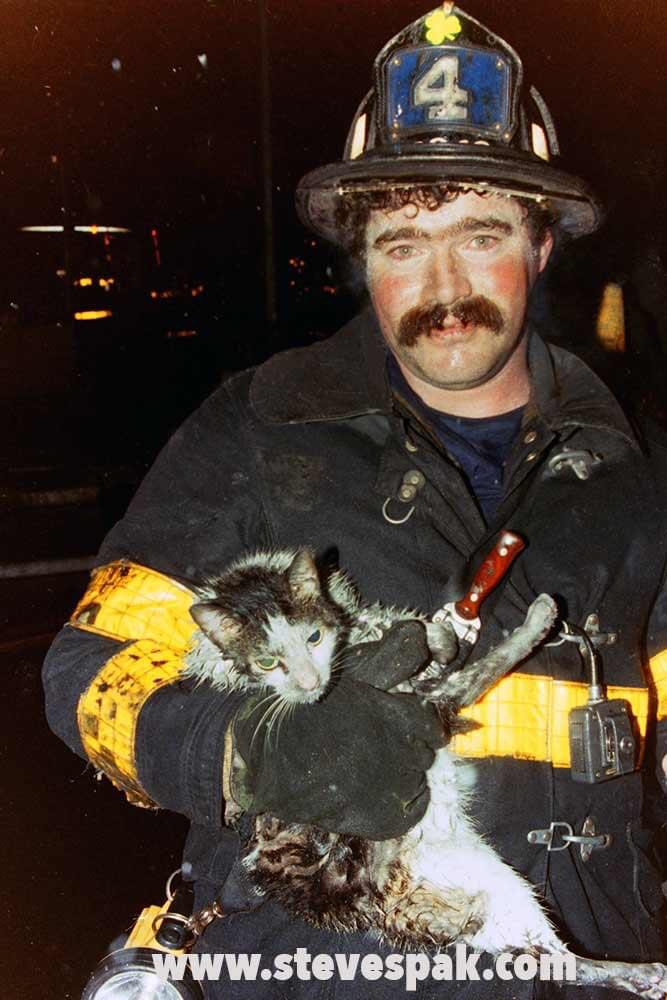Raw photograph of firefighter and cat