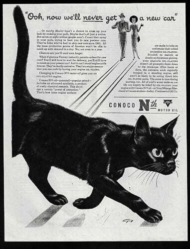 Black cat advertising motor oil