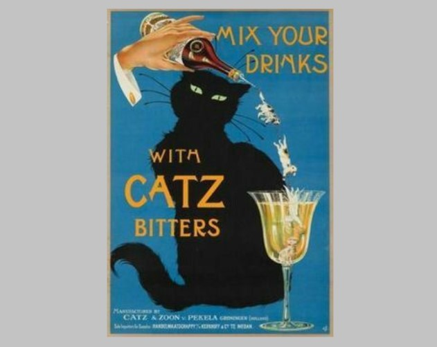 Black cat used to advertise a drink additive