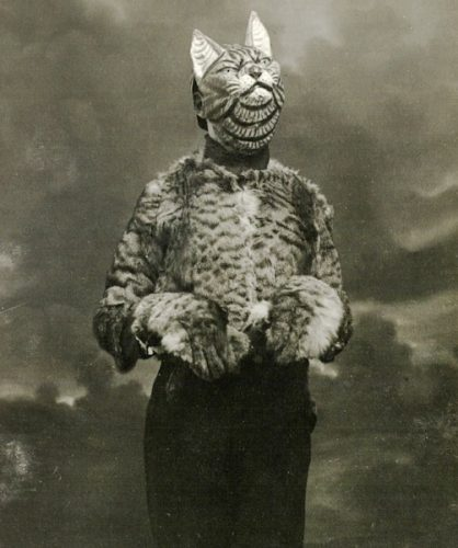 Man dressed as a cat in France, 1920