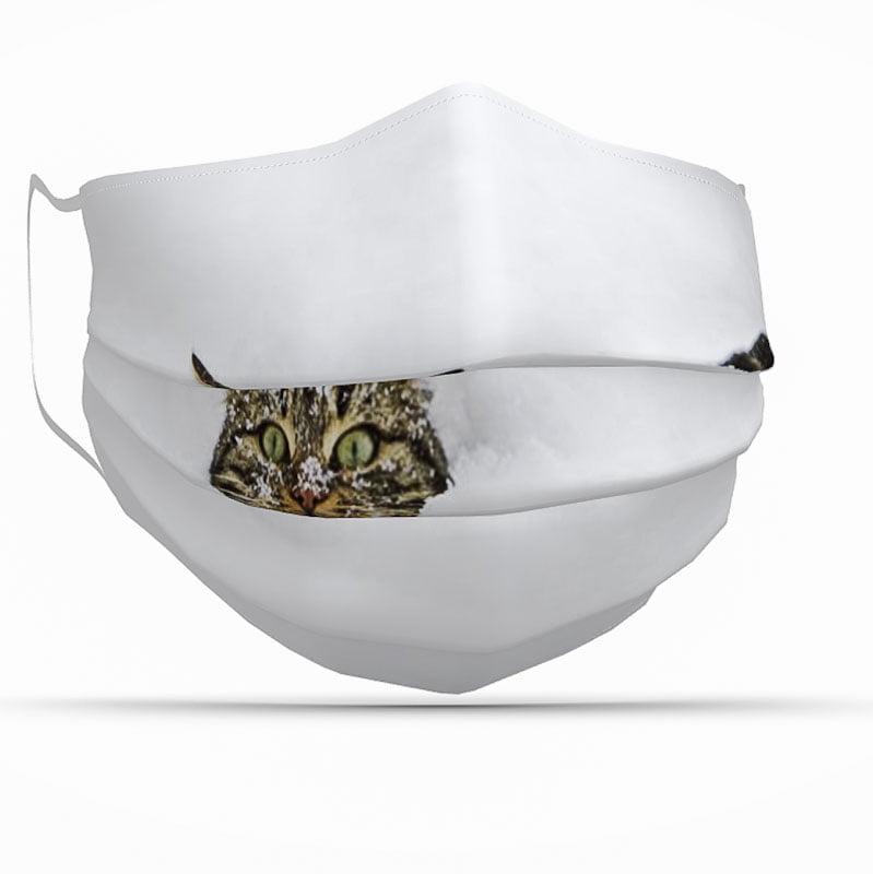 Cat in snow coronavirus face covering