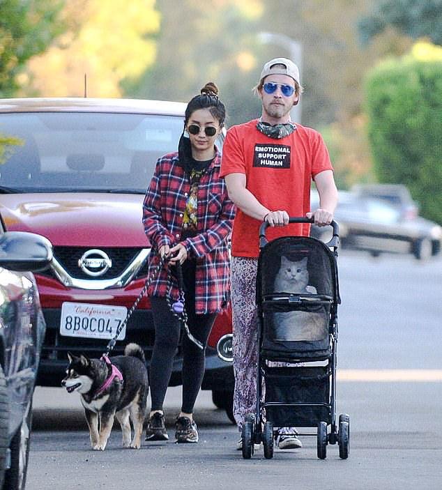 Culkin walking his cat in a stroller