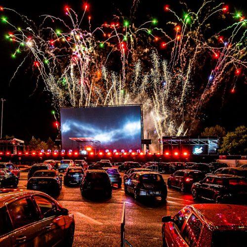 Drive-thru fireworks display in Germany